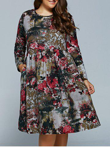 Outfits Plus Size Flower Print Dress RED 2XL