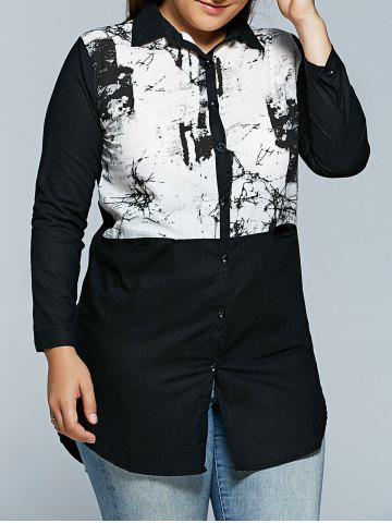 Sale Plus Size Chinese Painting Print Shirt