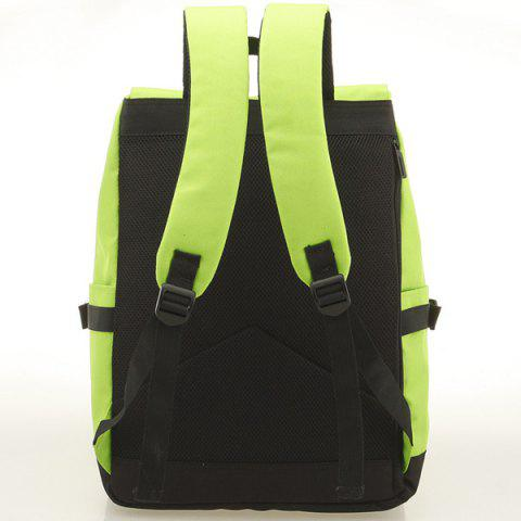 Affordable Large Buckle Straps Backpack - NEON GREEN  Mobile