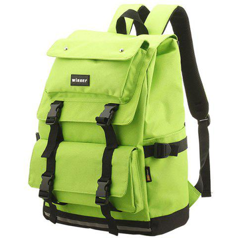 Latest Large Buckle Straps Backpack - NEON GREEN  Mobile