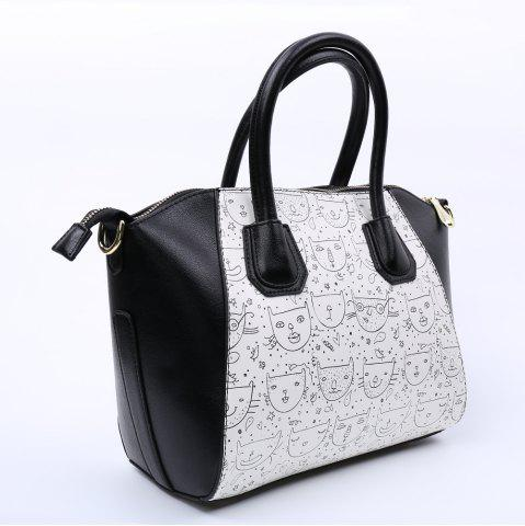 Outfit Casual Color Block and Printed Design Tote Bag For Women - BLACK  Mobile