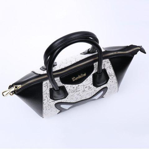 Fancy Casual Color Block and Printed Design Tote Bag For Women - BLACK  Mobile