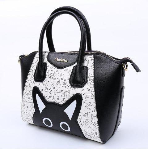 Fashion Casual Color Block and Printed Design Tote Bag For Women - BLACK  Mobile