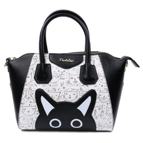 Shop Casual Color Block and Printed Design Tote Bag For Women - BLACK  Mobile