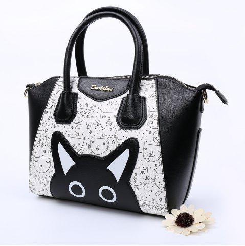 Unique Casual Color Block and Printed Design Tote Bag For Women - BLACK  Mobile