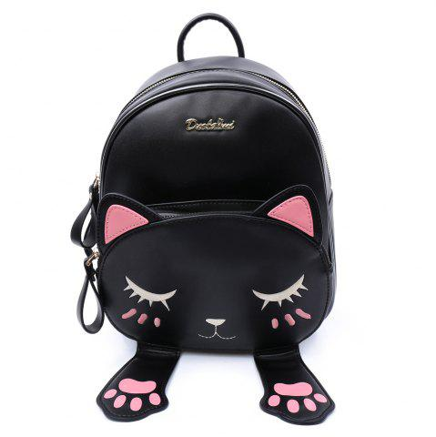 Trendy Cute Cat Pattern and Black Design Backpack For Women - BLACK  Mobile