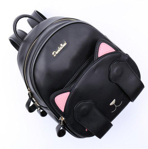 Affordable Cute Cat Pattern and Black Design Backpack For Women - BLACK  Mobile