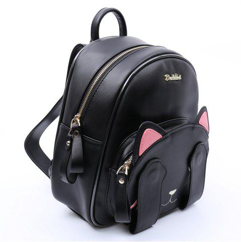 Shop Cute Cat Pattern and Black Design Backpack For Women - BLACK  Mobile