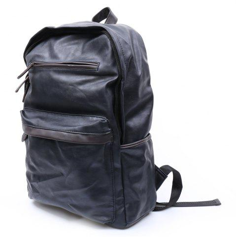 Fancy Casual Dark Color and PU Leather Design Backpack For Men - BLACK  Mobile