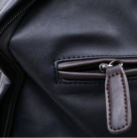 Chic Casual Dark Color and PU Leather Design Backpack For Men - BLACK  Mobile