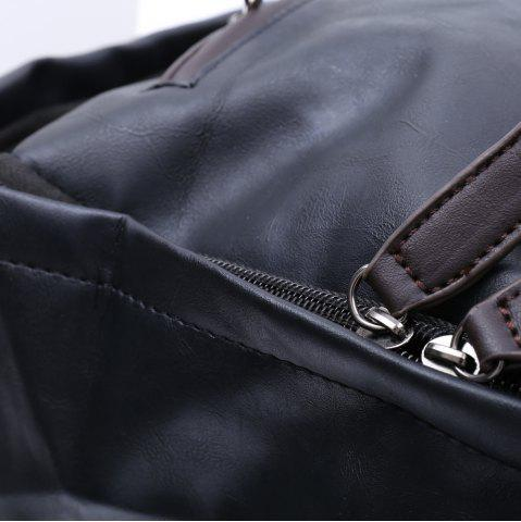Hot Casual Dark Color and PU Leather Design Backpack For Men - BLACK  Mobile
