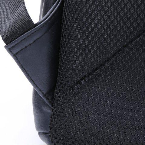 New Casual Dark Color and PU Leather Design Backpack For Men - BLACK  Mobile