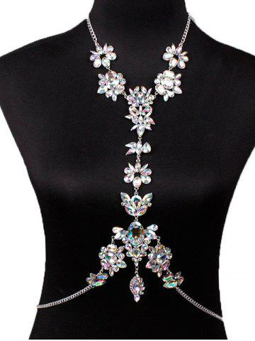 Latest Hollow Out Rhinestone Flower Body Chain