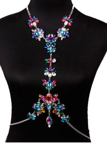 Affordable Hollow Out Rhinestone Flower Beach Body Jewelry