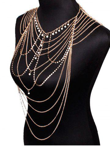 Trendy Faux Pearl Pendant Rhinestone Layered Beach Full Body Jewelry - GOLDEN  Mobile