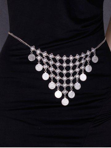 Trendy Round Coin Inverted Triangle Tassel Belly Chain - SILVER  Mobile