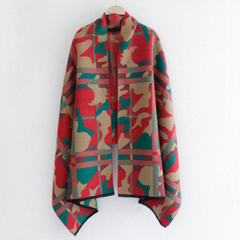 Chic Fringed Edge Camouflage and Plaid Pattern Shawl Pashmina