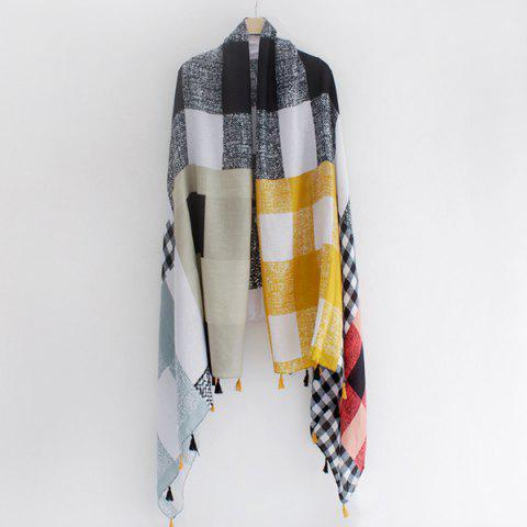 Cheap Multicolor Plaid Pattern Small Tassel Shawl Pashmina