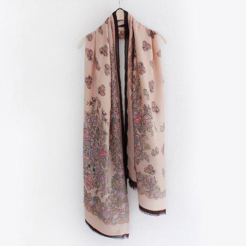 Outfit Retro Flowers Pattern Fringed Edge Shawl Scarf