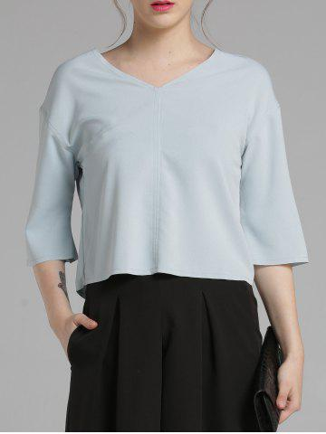 Hot 3/4 Sleeve V Neck Loose Blouse