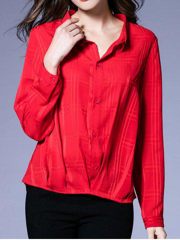 Fashion Buttoned Loose-Fitting Ruched Blouse