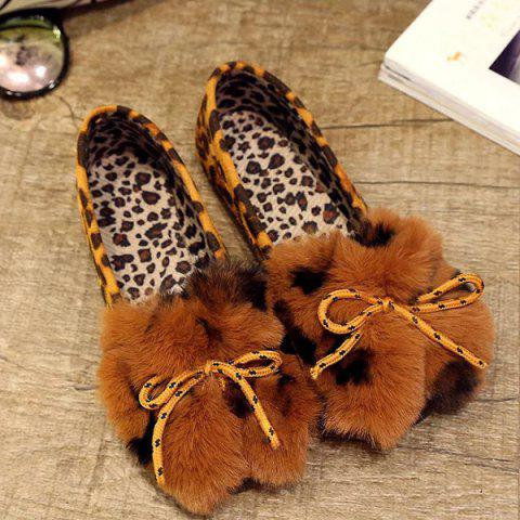 Fancy Round Toe Faux Fur Flock Flat Shoes