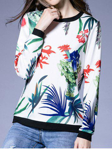 Outfit Plant Print Splicing Sweatshirt