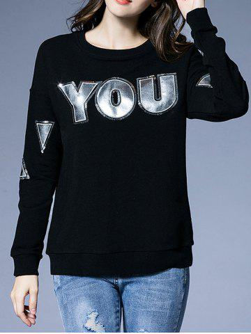 Cheap Letter Patch Design Loose-Fitting Sweatshirt