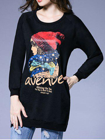 Fashion Figure Print Pocket Design Sweatshirt