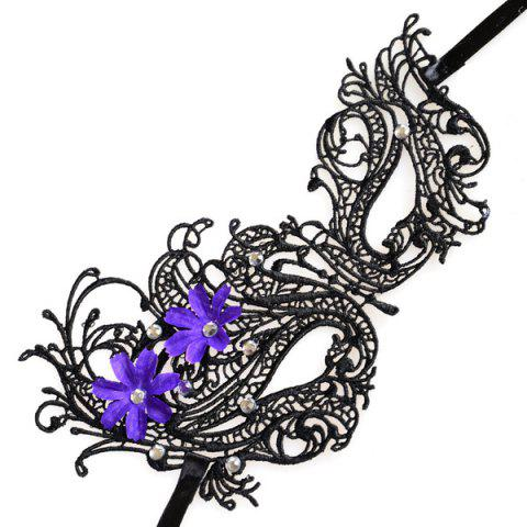 New Rhinestone Floral Elastic Hair Band Party Mask - BLACK  Mobile