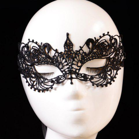 Hot Hollow Out Elastic Hair Band Party Mask - BLACK  Mobile