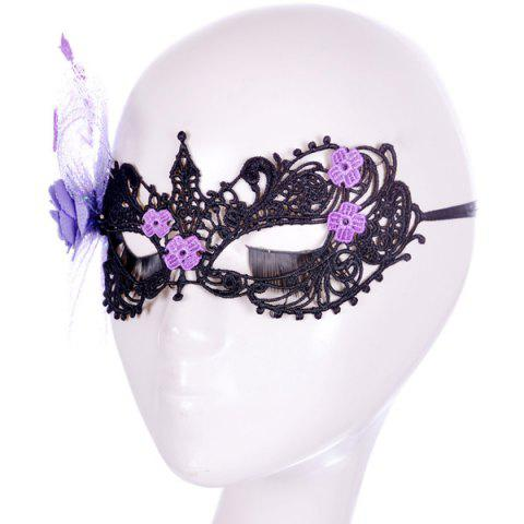 Cheap Flower Elastic Hair Band Party Mask - PURPLE  Mobile