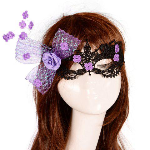 Shop Flower Elastic Hair Band Party Mask - PURPLE  Mobile