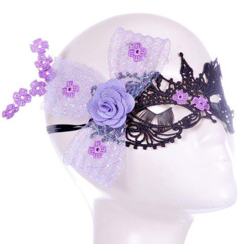 Sale Flower Elastic Hair Band Party Mask - PURPLE  Mobile