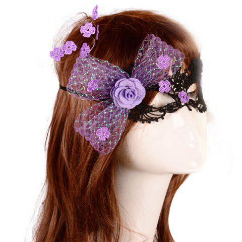 Hot Flower Elastic Hair Band Party Mask - PURPLE  Mobile