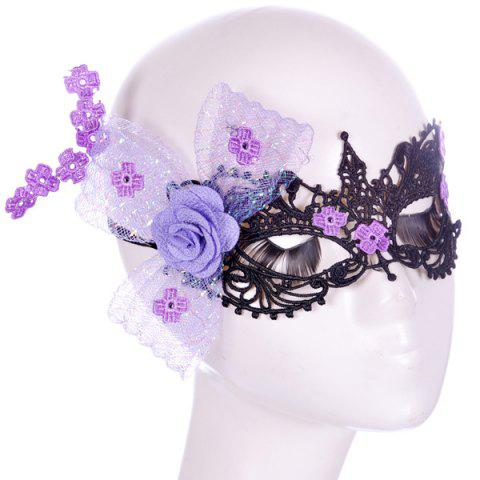 Fashion Flower Elastic Hair Band Party Mask - PURPLE  Mobile