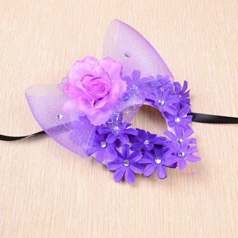 Affordable Rhinestone Flower Bowknot Headband Party Mask - PURPLE  Mobile
