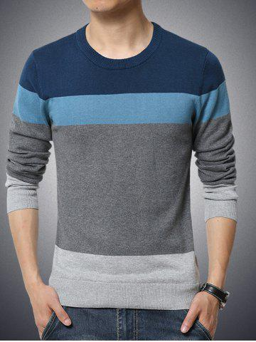 Buy Color Block Spliced Round Neck Long Sleeve Sweater