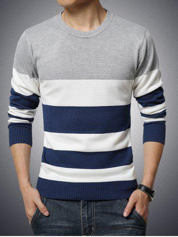 Latest Color Block Stripe Print Round Neck Long Sleeve Sweater
