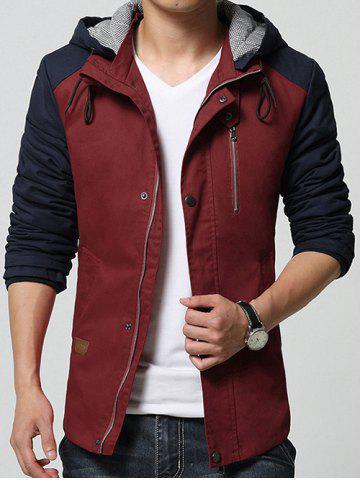 Store Hooded Drawstring Color Block Cotton-Padded Zip-Up Jacket