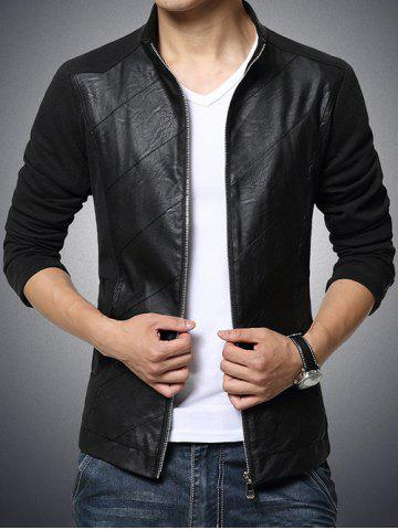 Trendy Stand Collar Spliced Design PU-Leather Zip-Up Jacket