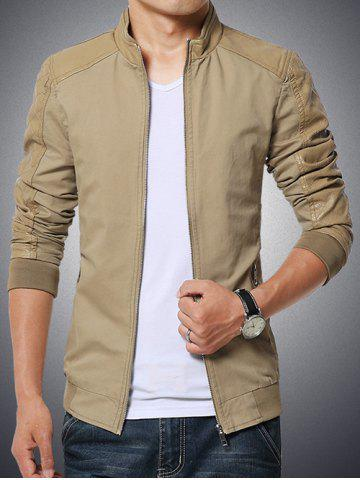 Fancy Stand Collar Splicing Design PU-Leather Zip-Up Jacket