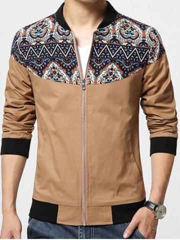 Outfits Stand Collar Ethnic Style Print Rib Spliced Zip-Up Jacket KHAKI 5XL