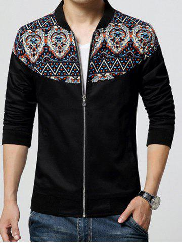 Discount Stand Collar Ethnic Style Print Rib Spliced Zip-Up Jacket