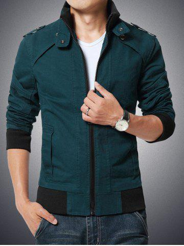 Affordable Stand Collar Epaulet Design Rib Spliced Zip-Up Jacket