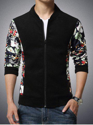 Trendy Stand Collar Flower Print Splicing Design Zip-Up Jacket