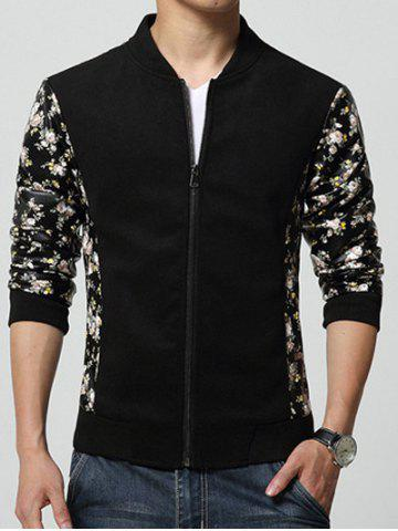 Shops Stand Collar Tiny Floral Print Splicing Design Zip-Up Jacket