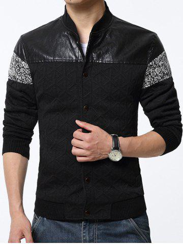Cheap Stand Collar PU-Leather and Knited Splicing Geometric Emboss Jacket