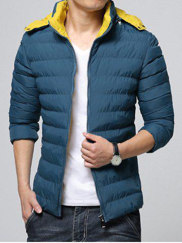 Fashion Hooded Color Block Zip-Up Padded Jacket BLUE 2XL