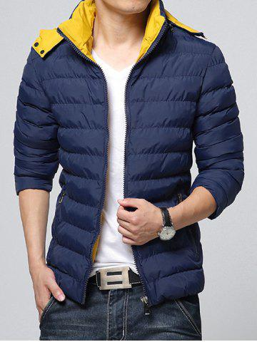 Hot Hooded Color Block Zip-Up Padded Jacket DEEP BLUE M